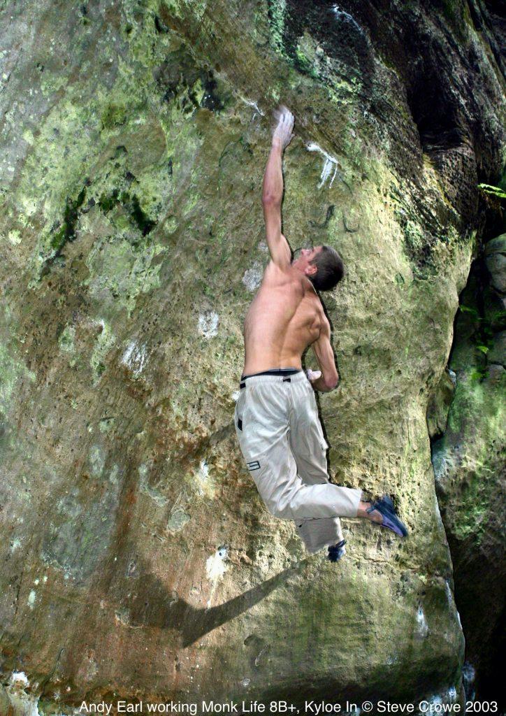 Andy Earl climbing Monk Life 8B+ © Steve Crowe 2003