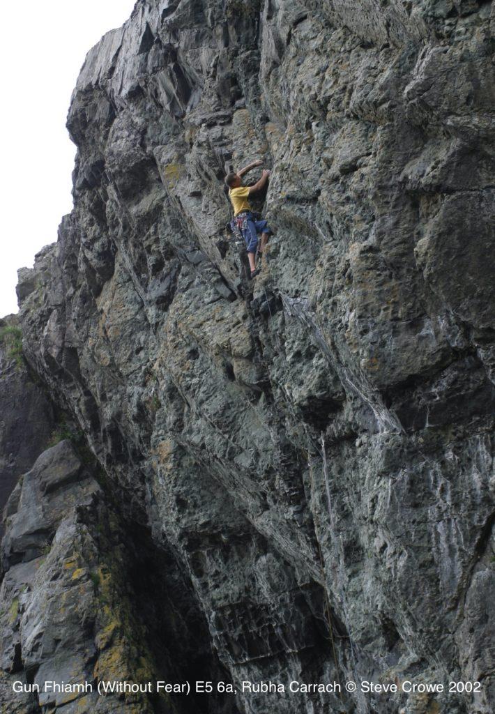 Steve Crowe climbing GunFhiamh E5 6a at Rubha Carrach