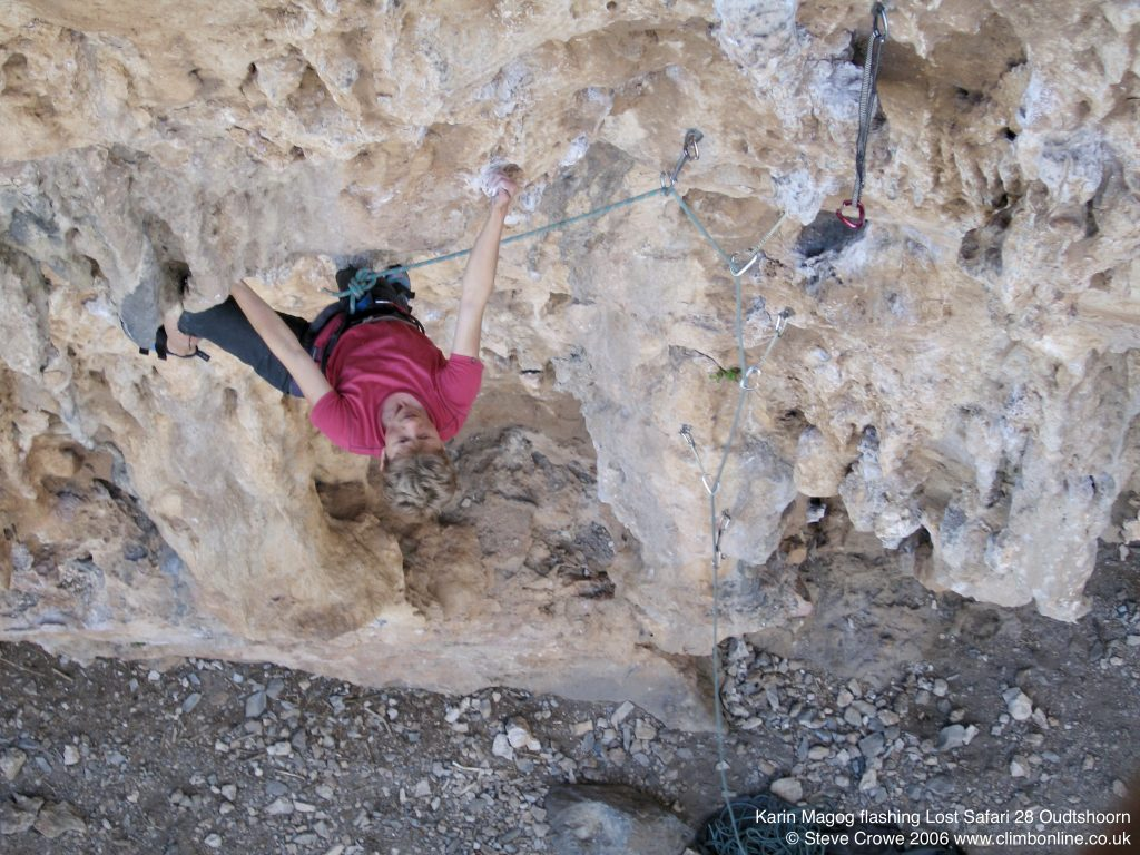 Karin Magog flashing Lost Safari 28 Oudtshoorn  © Steve Crowe 2006 www.climbonline.co.uk