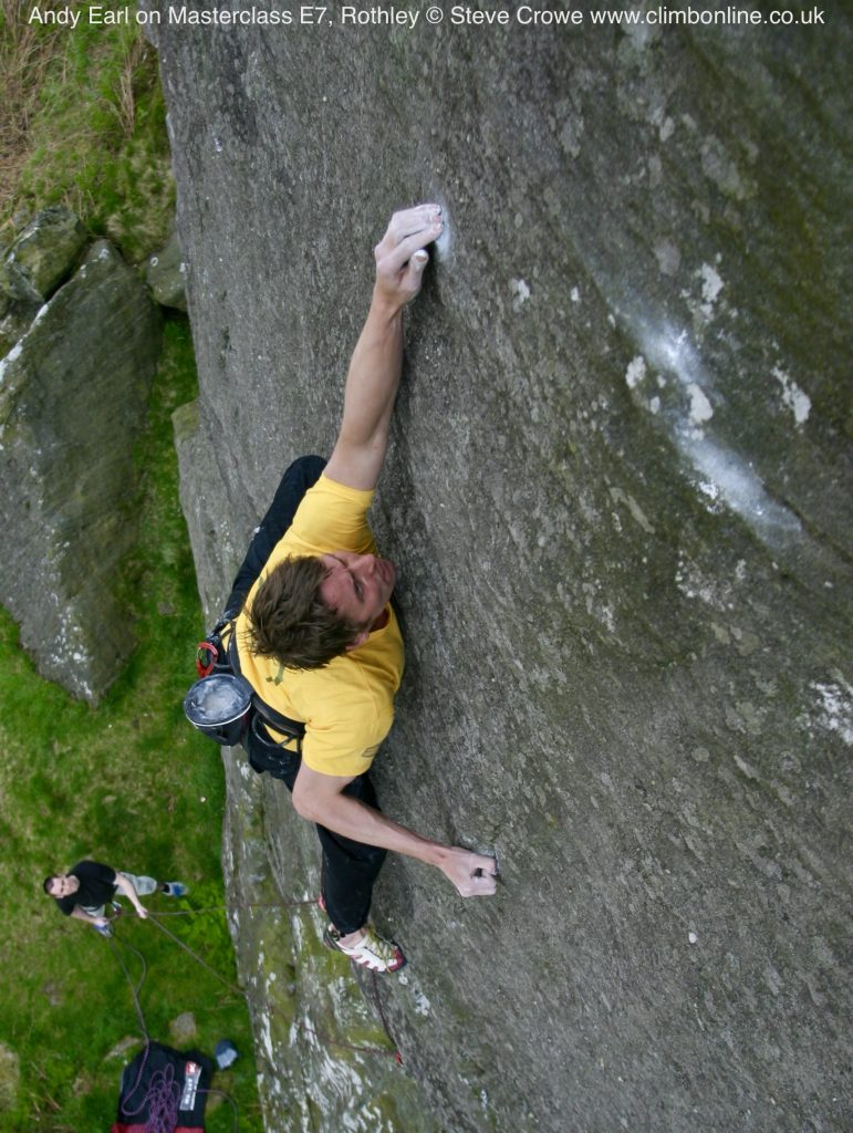 Andy Earl on Masterclass E7, Rothley © Steve Crowe www.climbonline.co.uk