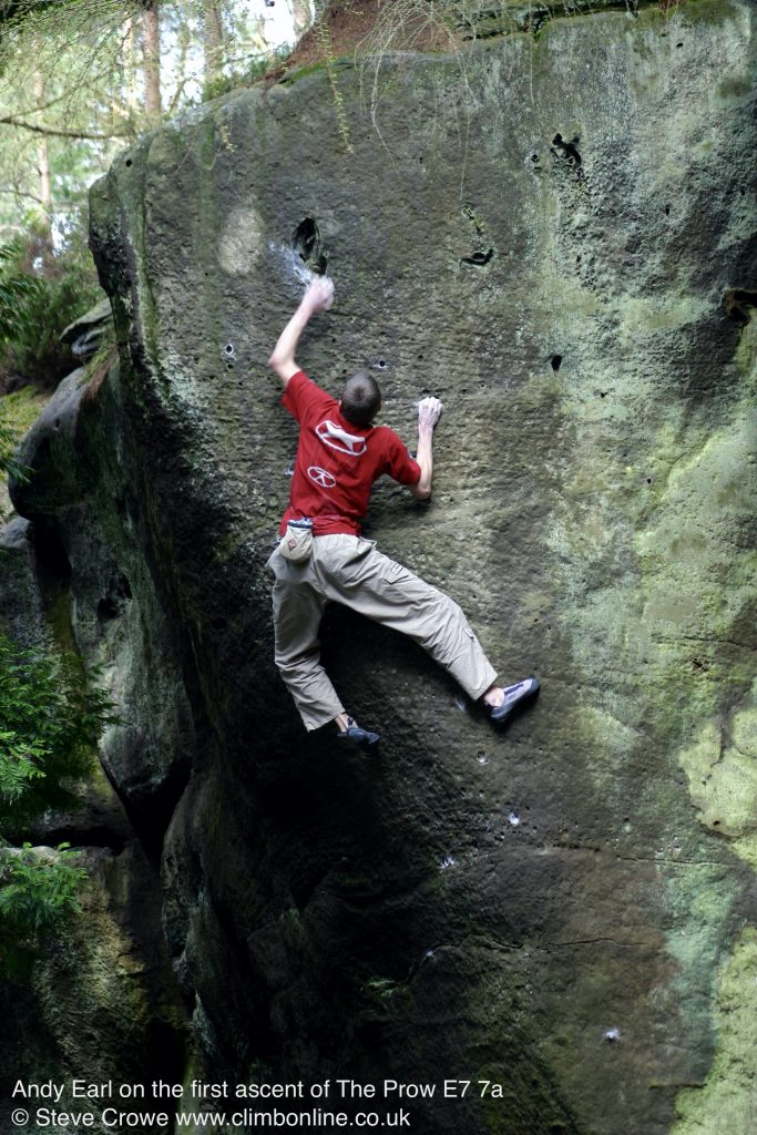 Andy Earl on the first ascent of The Prow E9 7a © Steve Crowe 2003