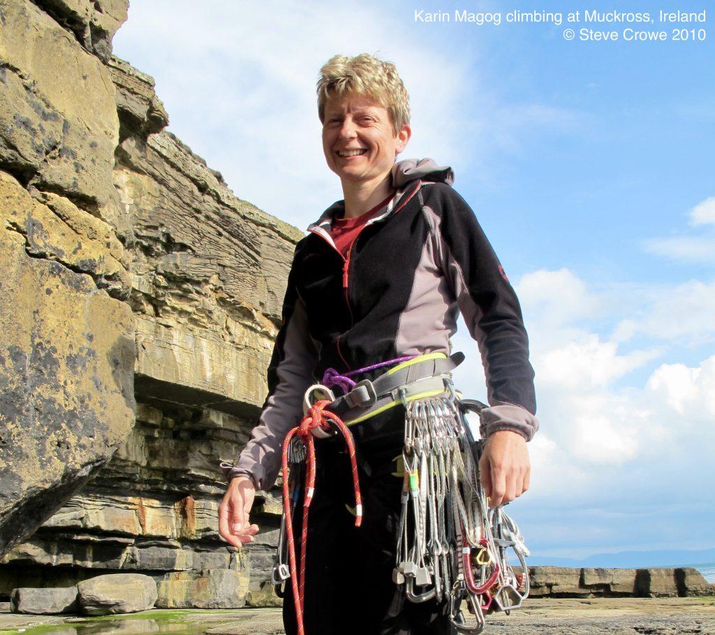 Karin Magog climbing at Muckross, Ireland © Steve Crowe 2010