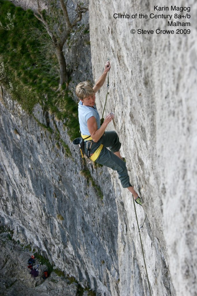 Karin Magog repointing Climb of the Century 8a+/b at Malham © Steve Crowe 2009
