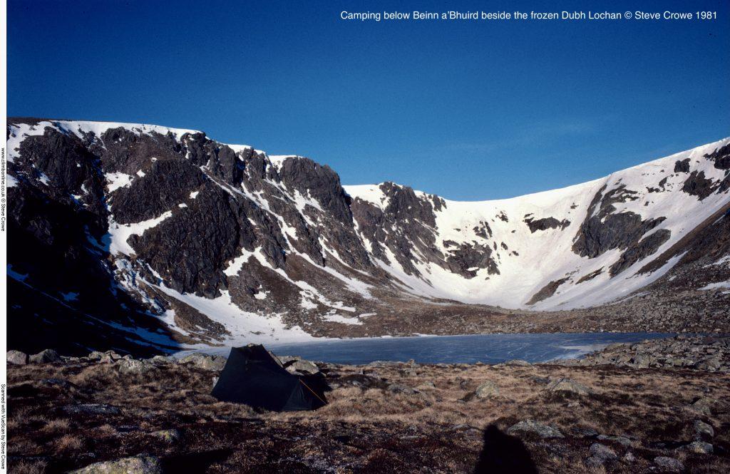 Camping below Beinn a'Bhuird beside the frozen Dubh Lochan © Steve Crowe 1981
