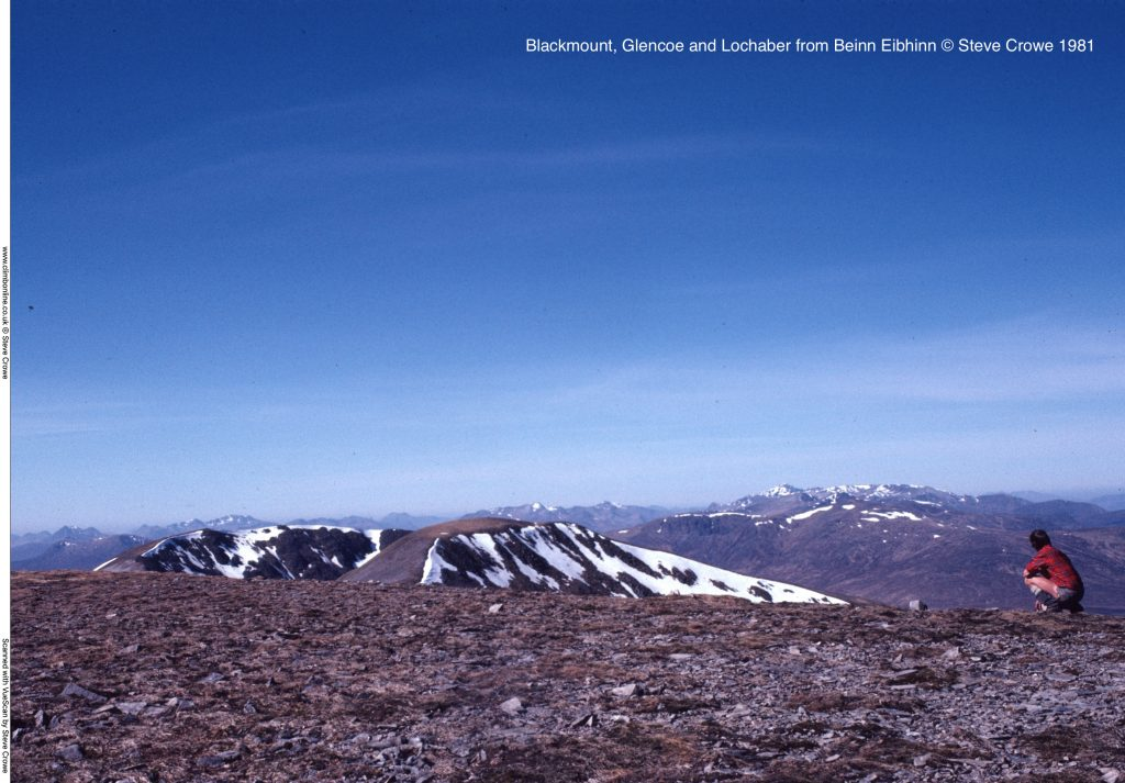 Blackmount, Glencoe and Lochaber from Beinn Eibhinn © Steve Crowe 1981