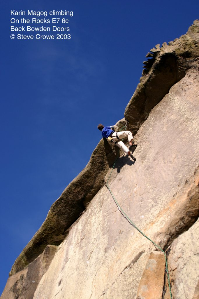 Karin Magog climbing On the Rocks E7 6c at Back Bowden Doors in Northumberland © Steve Crowe 2003