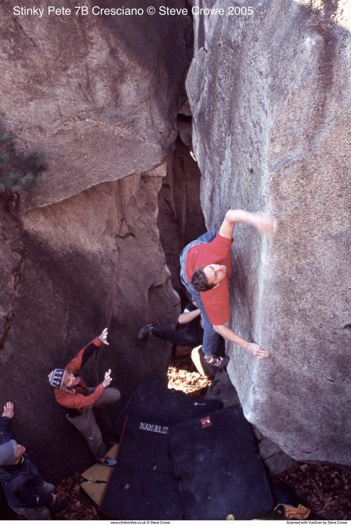 Andy Earl climbing Stinky Pete 7B Cresciano © Steve Crowe 2005